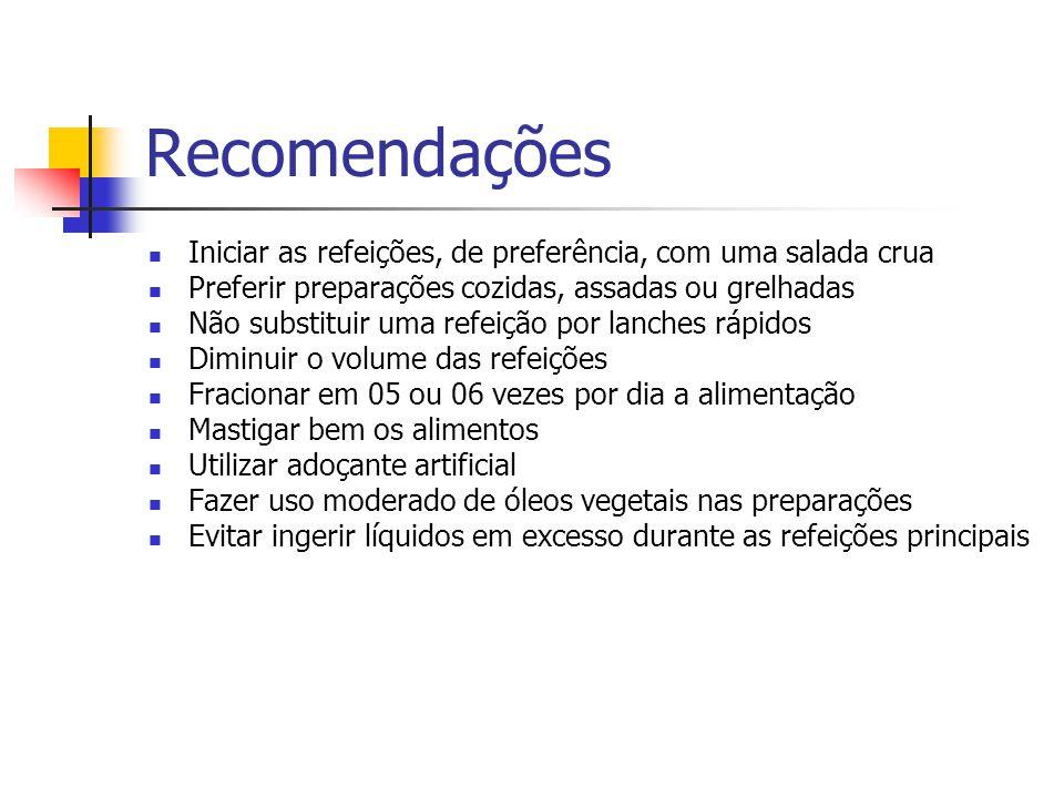 Recomendações Iniciar as refeições, de preferência, com uma salada crua Preferir preparações cozidas, assadas ou grelhadas Não substituir uma refeição