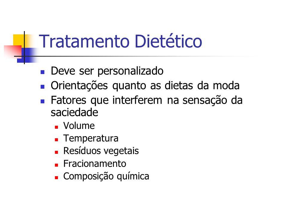 Tratamento Dietético Deve ser personalizado Orientações quanto as dietas da moda Fatores que interferem na sensação da saciedade Volume Temperatura Resíduos vegetais Fracionamento Composição química