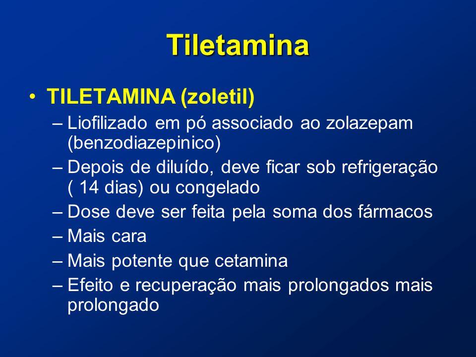Tiletamina TILETAMINA (zoletil) –Liofilizado em pó associado ao zolazepam (benzodiazepinico) –Depois de diluído, deve ficar sob refrigeração ( 14 dias) ou congelado –Dose deve ser feita pela soma dos fármacos –Mais cara –Mais potente que cetamina –Efeito e recuperação mais prolongados mais prolongado