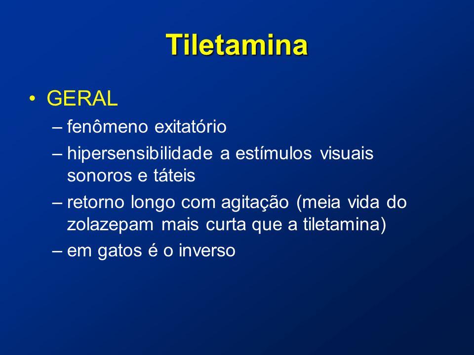 Tiletamina GERAL –fenômeno exitatório –hipersensibilidade a estímulos visuais sonoros e táteis –retorno longo com agitação (meia vida do zolazepam mais curta que a tiletamina) –em gatos é o inverso