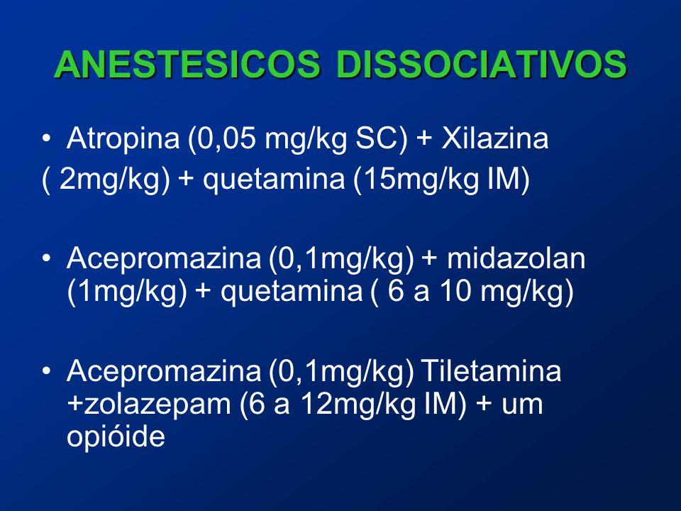 ANESTESICOS DISSOCIATIVOS Atropina (0,05 mg/kg SC) + Xilazina ( 2mg/kg) + quetamina (15mg/kg IM) Acepromazina (0,1mg/kg) + midazolan (1mg/kg) + quetamina ( 6 a 10 mg/kg) Acepromazina (0,1mg/kg) Tiletamina +zolazepam (6 a 12mg/kg IM) + um opióide
