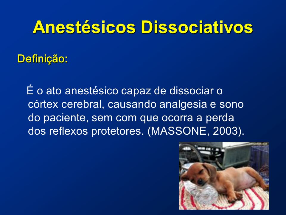 Anestésicos Dissociativos Definição: É o ato anestésico capaz de dissociar o córtex cerebral, causando analgesia e sono do paciente, sem com que ocorra a perda dos reflexos protetores.