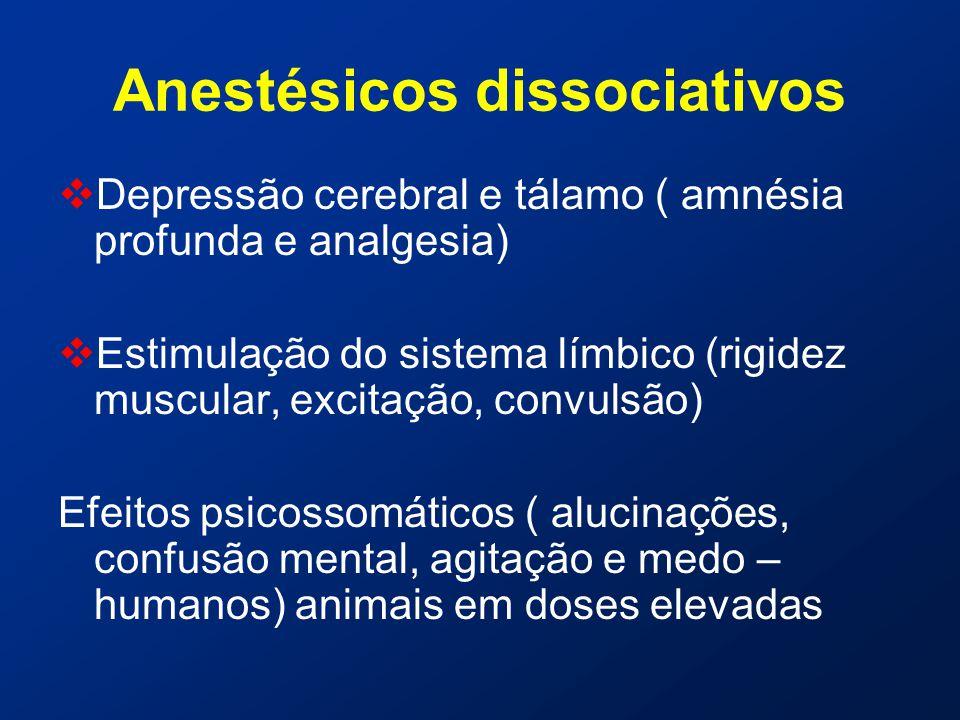 Anestésicos dissociativos  Depressão cerebral e tálamo ( amnésia profunda e analgesia)  Estimulação do sistema límbico (rigidez muscular, excitação, convulsão) Efeitos psicossomáticos ( alucinações, confusão mental, agitação e medo – humanos) animais em doses elevadas