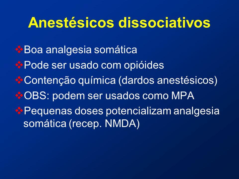 Anestésicos dissociativos  Boa analgesia somática  Pode ser usado com opióides  Contenção química (dardos anestésicos)  OBS: podem ser usados como MPA  Pequenas doses potencializam analgesia somática (recep.
