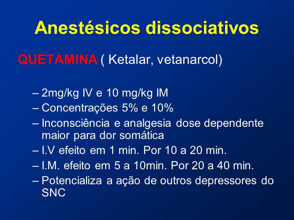 Anestésicos dissociativos QUETAMINA ( Ketalar, vetanarcol) –2mg/kg IV e 10 mg/kg IM –Concentrações 5% e 10% –Inconsciência e analgesia dose dependente maior para dor somática –I.V efeito em 1 min.