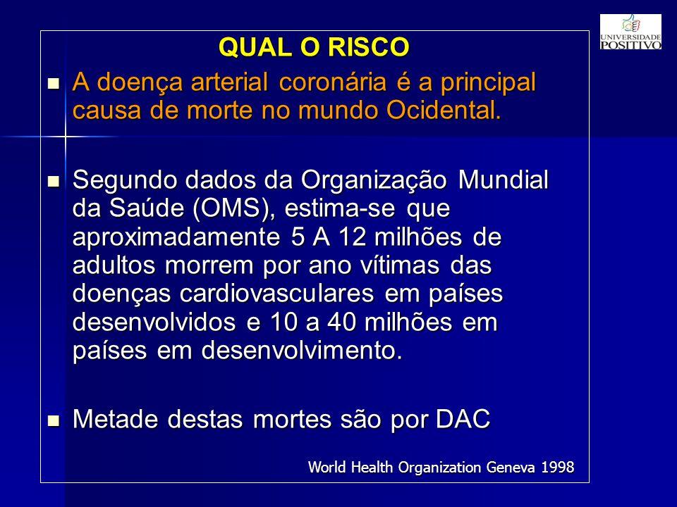 QUAL O RISCO A doença arterial coronária é a principal causa de morte no mundo Ocidental.