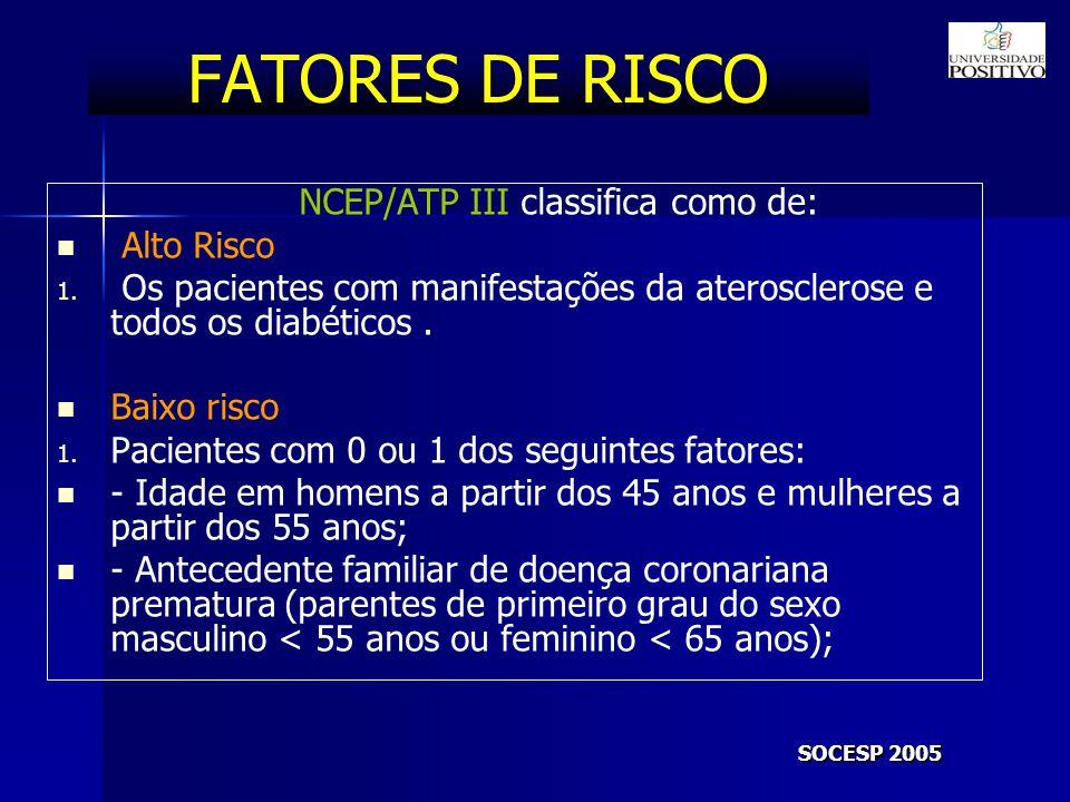 FATORES DE RISCO NCEP/ATP III classifica como de: Alto Risco 1.