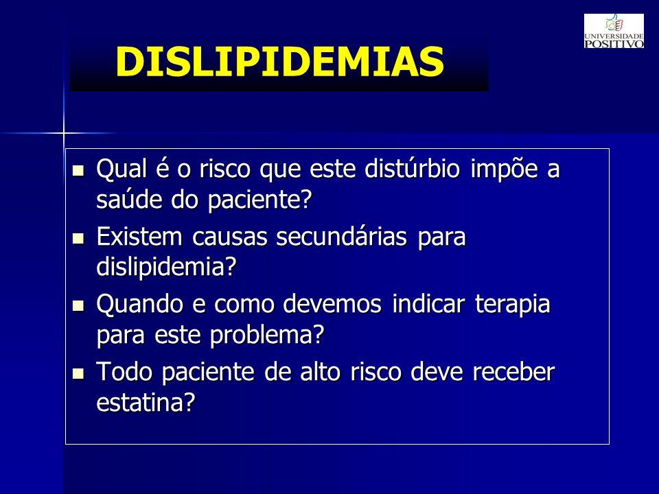 DISLIPIDEMIAS Qual é o risco que este distúrbio impõe a saúde do paciente.