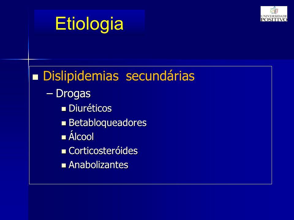 Etiologia Dislipidemias secundárias –Drogas Diuréticos Diuréticos Betabloqueadores Betabloqueadores Álcool Álcool Corticosteróides Corticosteróides Anabolizantes Anabolizantes