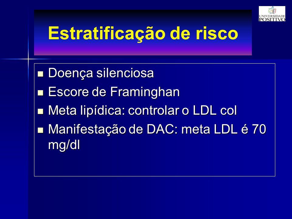 Estratificação de risco Doença silenciosa Doença silenciosa Escore de Framinghan Escore de Framinghan Meta lipídica: controlar o LDL col Meta lipídica: controlar o LDL col Manifestação de DAC: meta LDL é 70 mg/dl Manifestação de DAC: meta LDL é 70 mg/dl