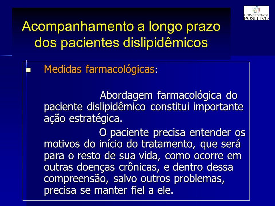 Acompanhamento a longo prazo dos pacientes dislipidêmicos Medidas farmacológicas : Medidas farmacológicas : Abordagem farmacológica do paciente dislipidêmico constitui importante ação estratégica.