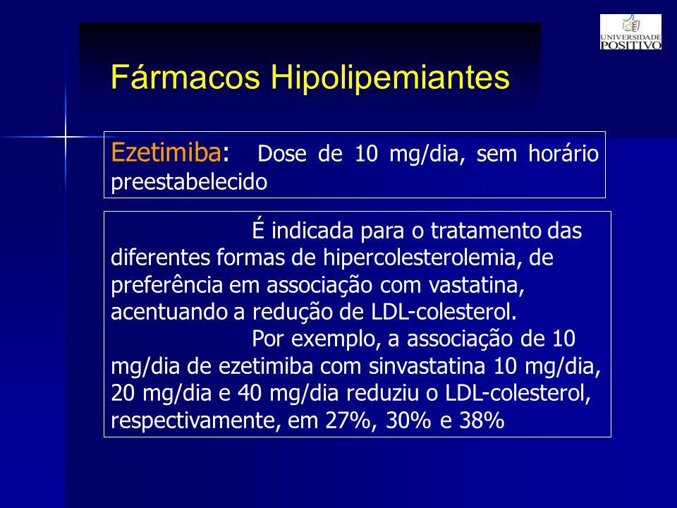Fármacos Hipolipemiantes Ezetimiba: Dose de 10 mg/dia, sem horário preestabelecido É indicada para o tratamento das diferentes formas de hipercolesterolemia, de preferência em associação com vastatina, acentuando a redução de LDL-colesterol.