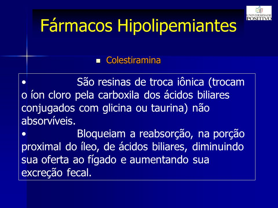 Fármacos Hipolipemiantes São resinas de troca iônica (trocam o íon cloro pela carboxila dos ácidos biliares conjugados com glicina ou taurina) não absorvíveis.
