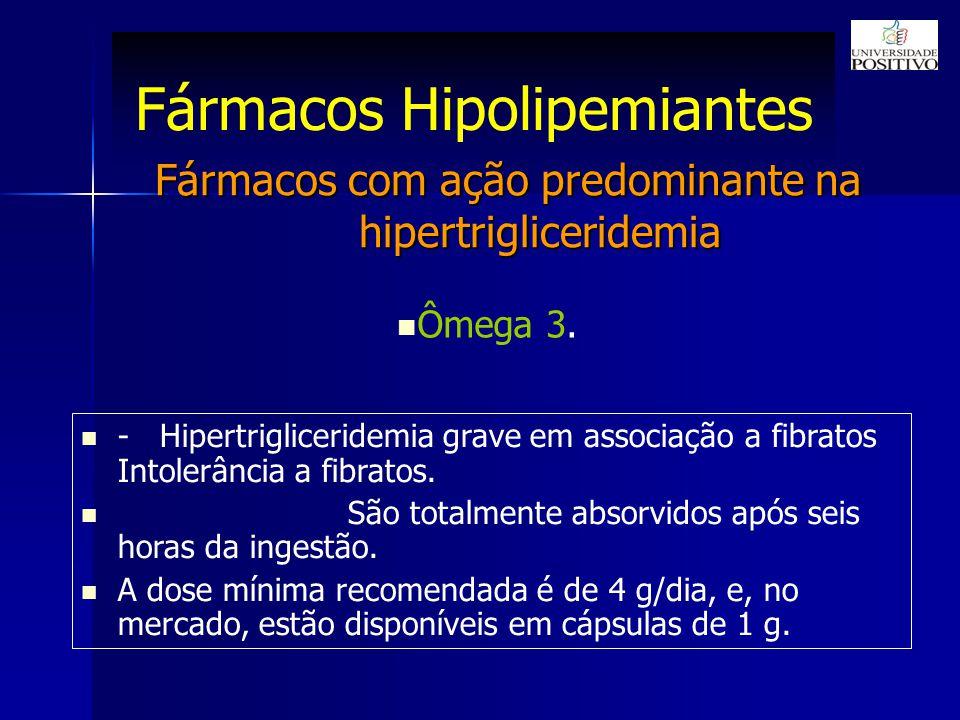 Fármacos Hipolipemiantes Fármacos com ação predominante na hipertrigliceridemia Ômega 3.