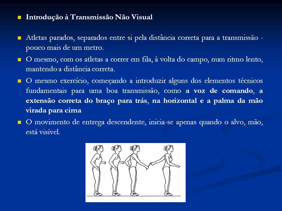 Introdução à Transmissão Não Visual Atletas parados, separados entre si pela distância correta para a transmissão - pouco mais de um metro.