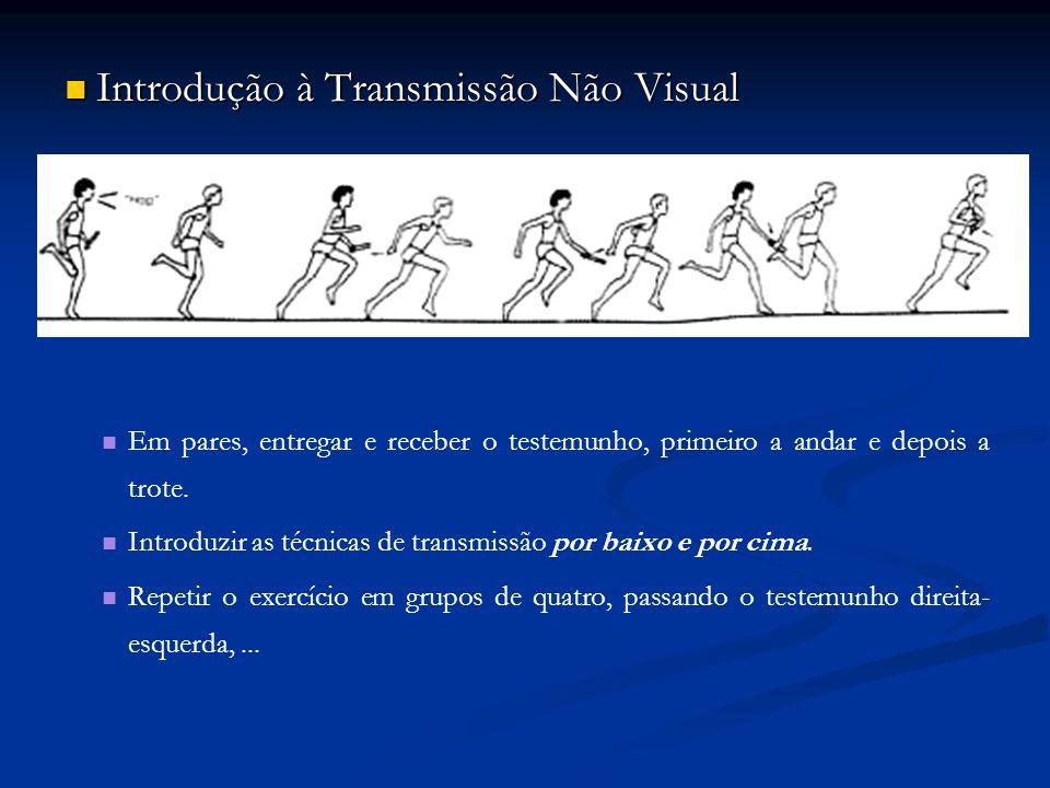 Introdução à Transmissão Não Visual Introdução à Transmissão Não Visual Em pares, entregar e receber o testemunho, primeiro a andar e depois a trote.