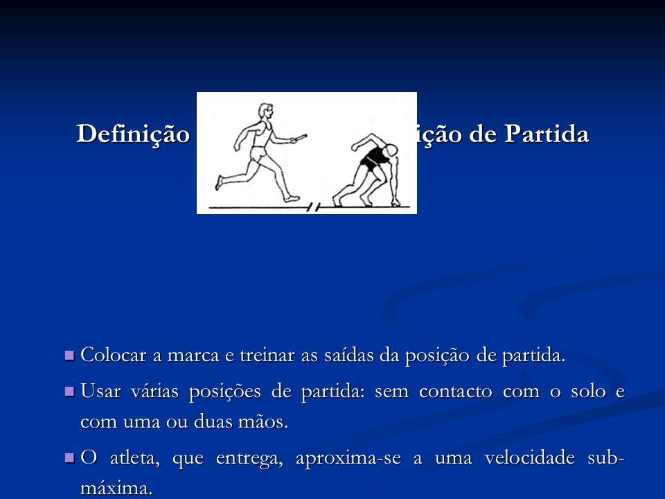 Definição da Marca e da Posição de Partida Colocar a marca e treinar as saídas da posição de partida.