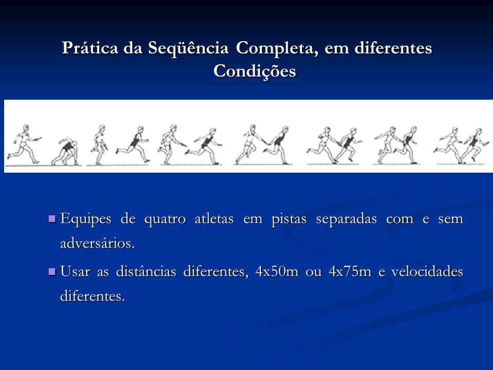 Prática da Seqüência Completa, em diferentes Condições Equipes de quatro atletas em pistas separadas com e sem adversários.