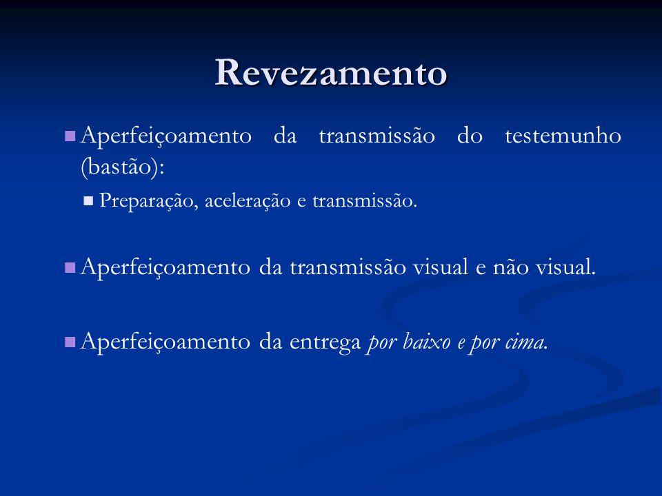 Revezamento Aperfeiçoamento da transmissão do testemunho (bastão): Preparação, aceleração e transmissão.