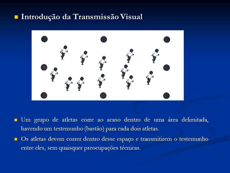 Introdução da Transmissão Visual Introdução da Transmissão Visual Um grupo de atletas corre ao acaso dentro de uma área delimitada, havendo um testemunho (bastão) para cada dois atletas.