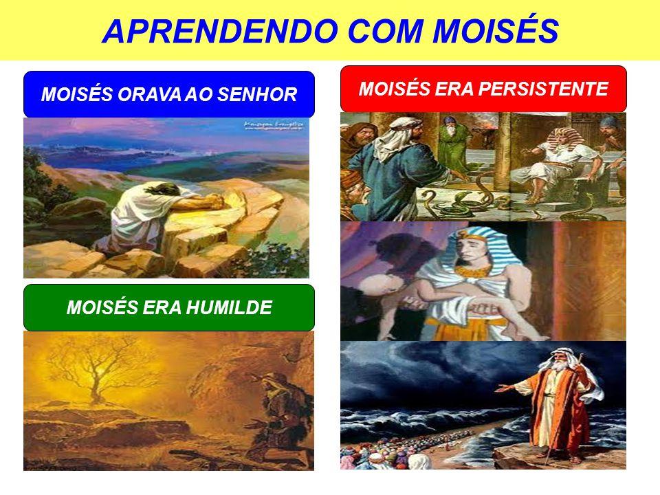 APRENDENDO COM MOISÉS MOISÉS ORAVA AO SENHOR MOISÉS ERA PERSISTENTE MOISÉS ERA HUMILDE
