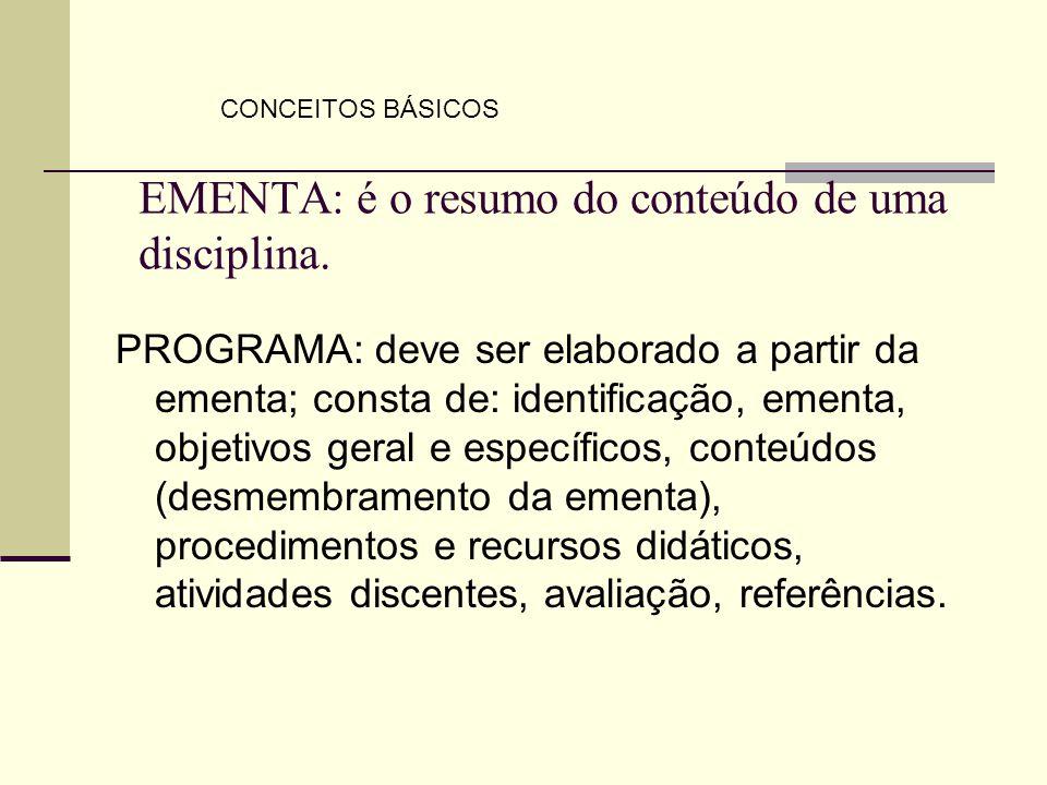 EMENTA: é o resumo do conteúdo de uma disciplina. PROGRAMA: deve ser elaborado a partir da ementa; consta de: identificação, ementa, objetivos geral e