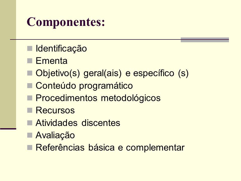 Componentes: Identificação Ementa Objetivo(s) geral(ais) e específico (s) Conteúdo programático Procedimentos metodológicos Recursos Atividades discen
