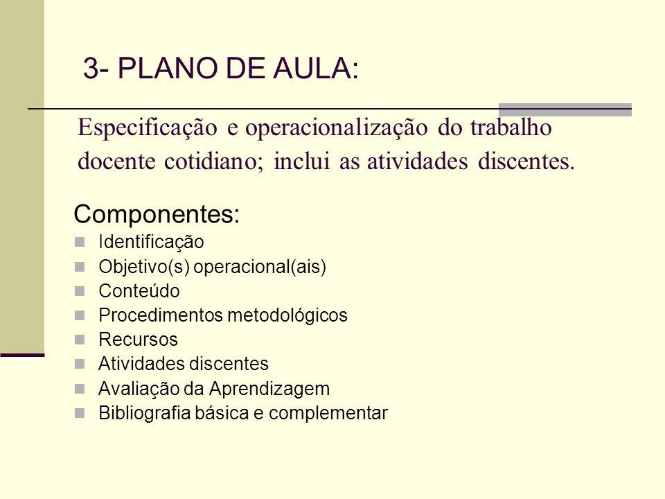 Especificação e operacionalização do trabalho docente cotidiano; inclui as atividades discentes. Componentes: Identificação Objetivo(s) operacional(ai
