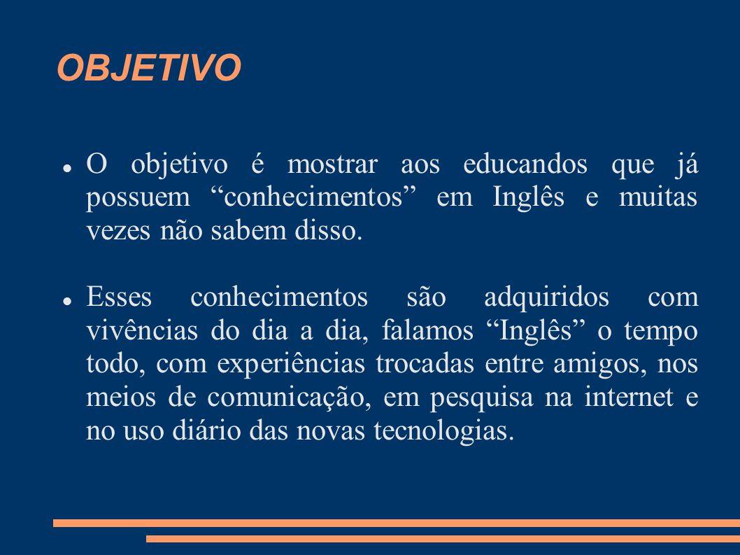 OBJETIVO O objetivo é mostrar aos educandos que já possuem conhecimentos em Inglês e muitas vezes não sabem disso.