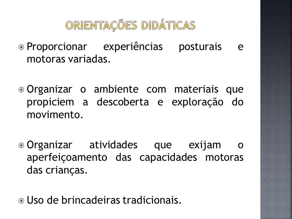  Proporcionar experiências posturais e motoras variadas.