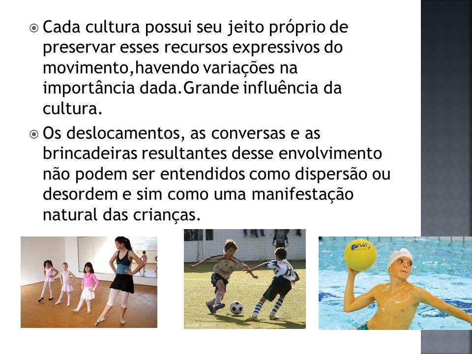  Cada cultura possui seu jeito próprio de preservar esses recursos expressivos do movimento,havendo variações na importância dada.Grande influência da cultura.