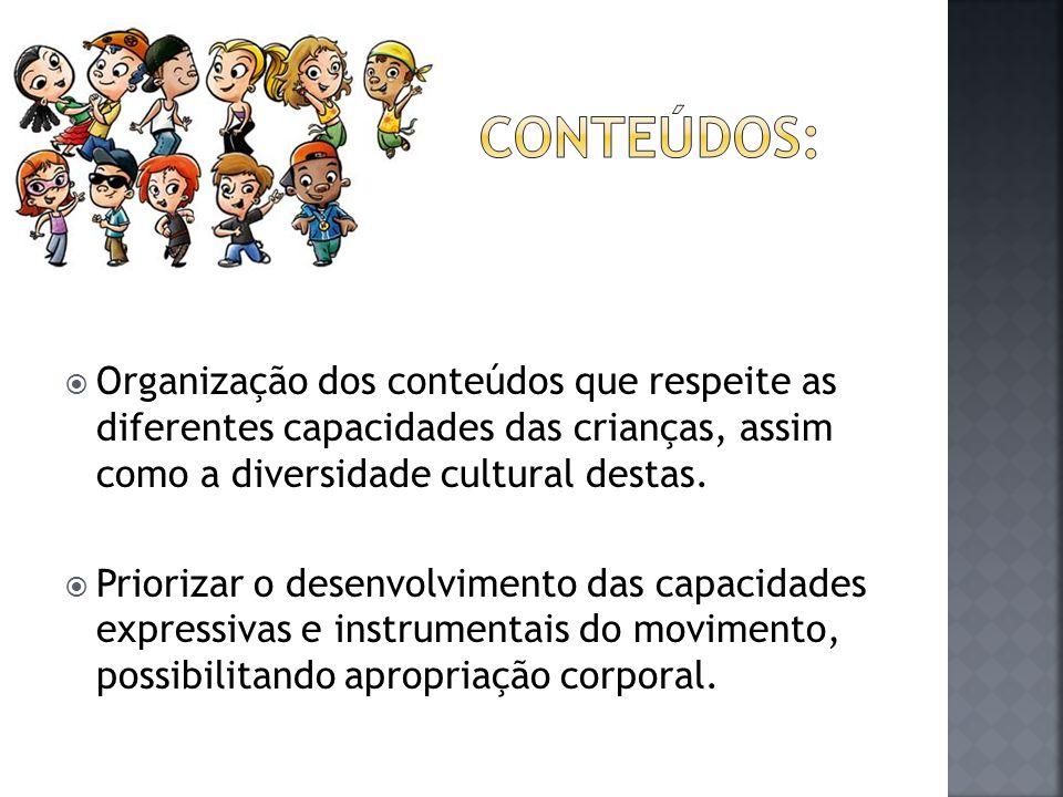  Organização dos conteúdos que respeite as diferentes capacidades das crianças, assim como a diversidade cultural destas.