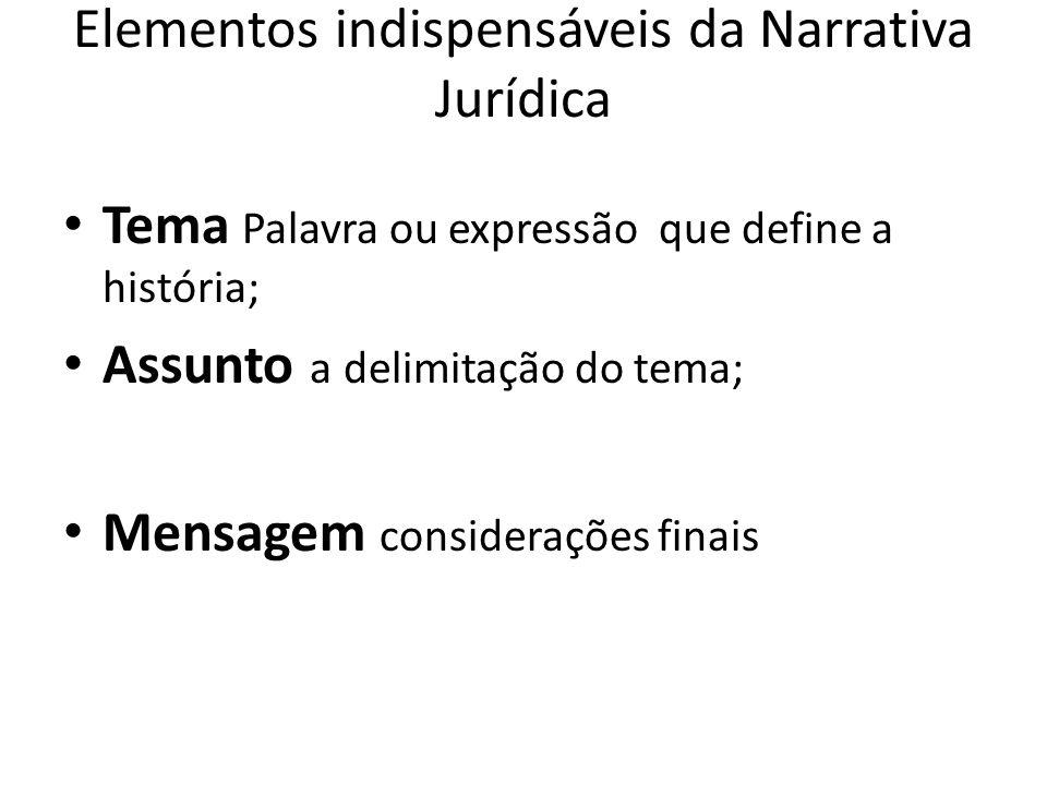 Elementos indispensáveis da Narrativa Jurídica Tema Palavra ou expressão que define a história; Assunto a delimitação do tema; Mensagem considerações finais