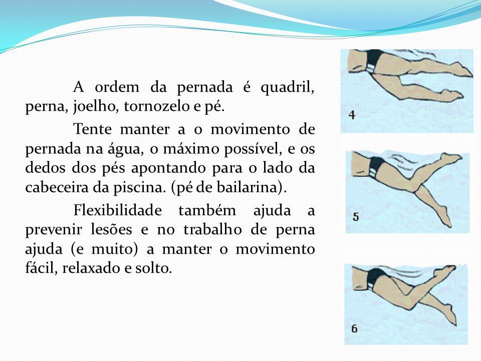 A ordem da pernada é quadril, perna, joelho, tornozelo e pé.