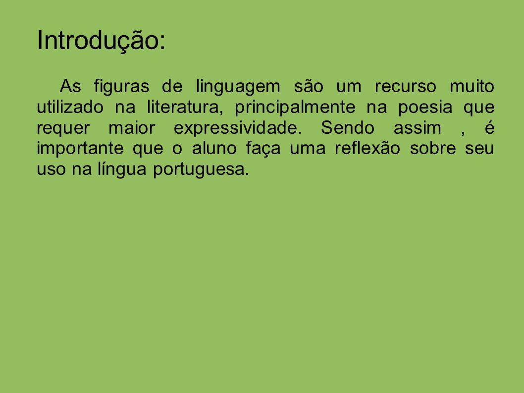 Introdução: As figuras de linguagem são um recurso muito utilizado na literatura, principalmente na poesia que requer maior expressividade.