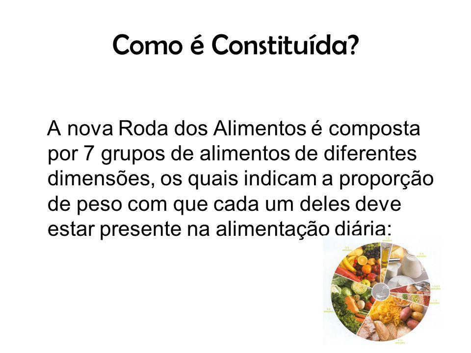 Como é Constituída? A nova Roda dos Alimentos é composta por 7 grupos de alimentos de diferentes dimensões, os quais indicam a proporção de peso com q