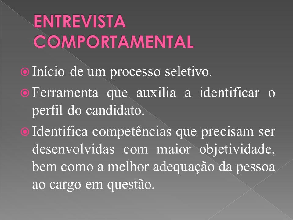  Início de um processo seletivo. Ferramenta que auxilia a identificar o perfil do candidato.