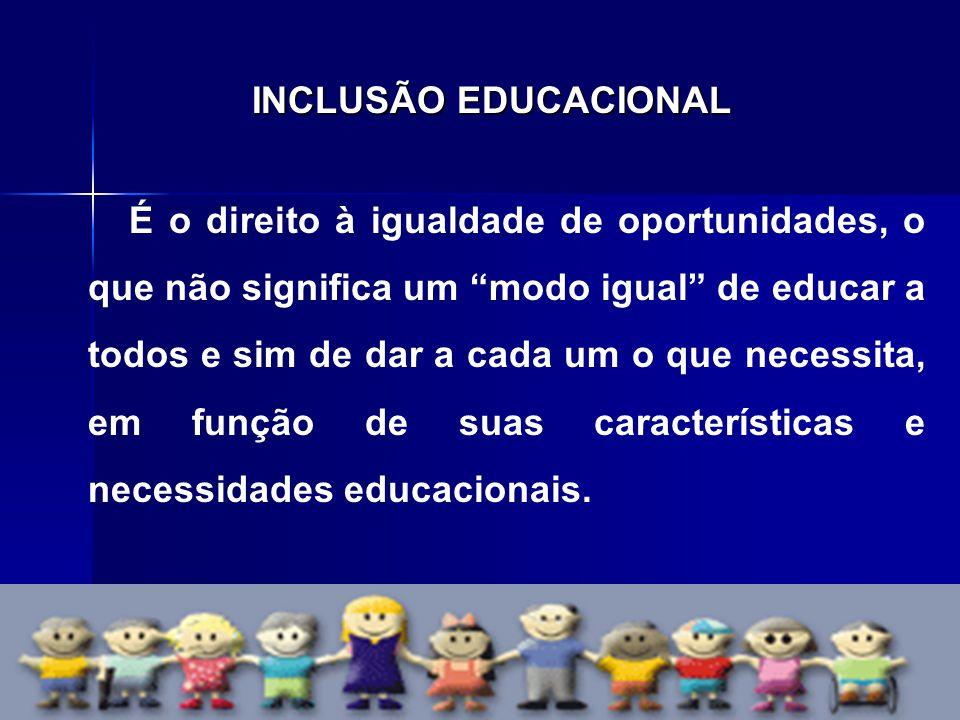 """INCLUSÃO EDUCACIONAL É o direito à igualdade de oportunidades, o que não significa um """"modo igual"""" de educar a todos e sim de dar a cada um o que nece"""