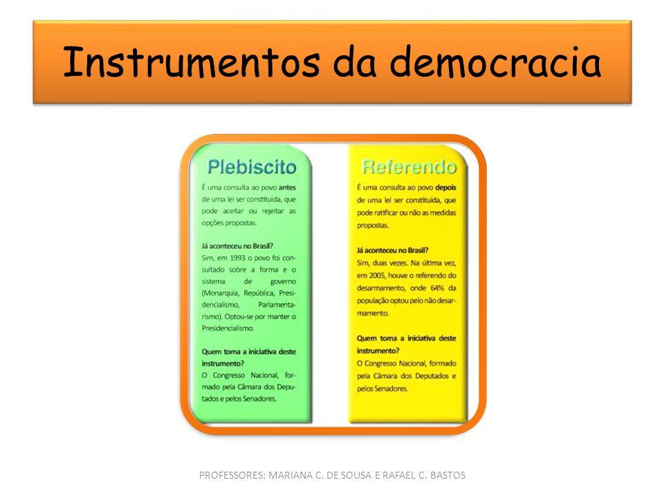 Instrumentos da democracia PROFESSORES: MARIANA C. DE SOUSA E RAFAEL C. BASTOS