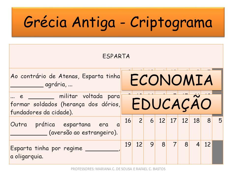 Grécia Antiga - Criptograma PROFESSORES: MARIANA C.