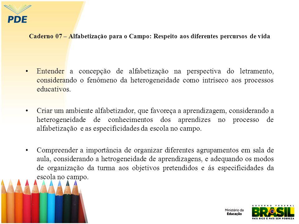 Caderno 07 – Alfabetização para o Campo: Respeito aos diferentes percursos de vida Entender a concepção de alfabetização na perspectiva do letramento,
