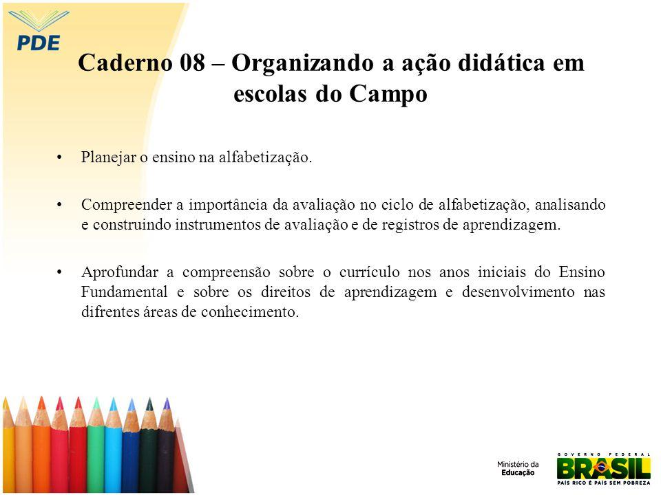 Caderno 08 – Organizando a ação didática em escolas do Campo Planejar o ensino na alfabetização. Compreender a importância da avaliação no ciclo de al