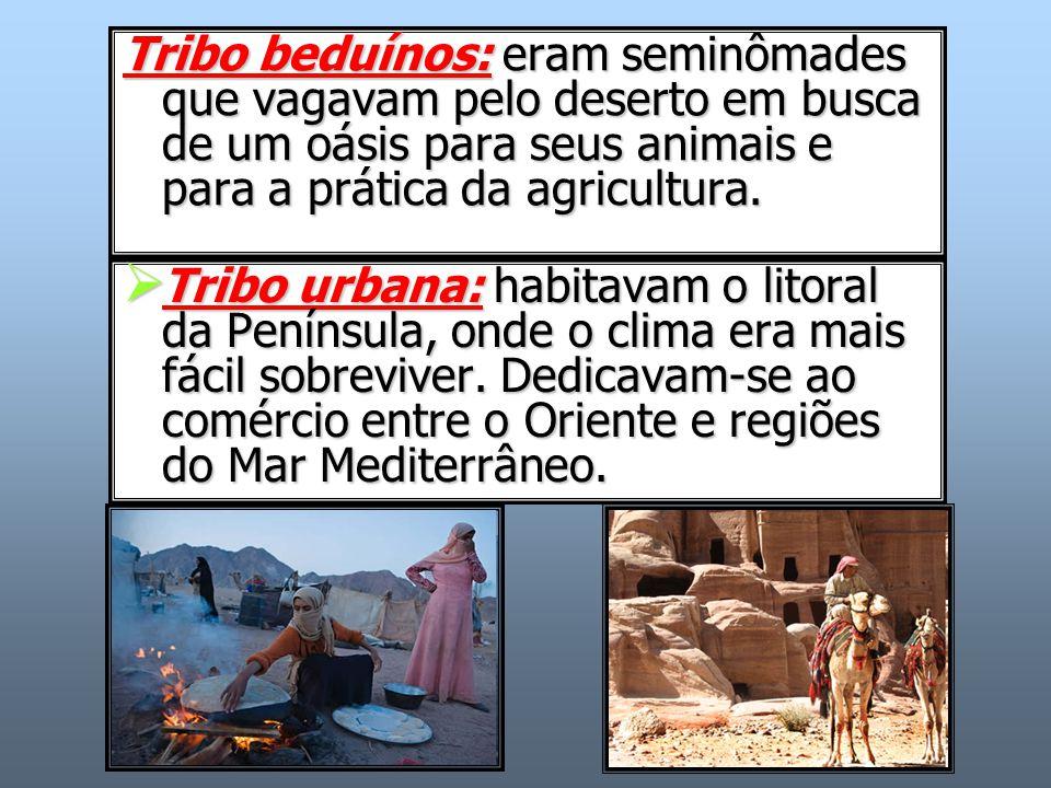 Tribo beduínos: eram seminômades que vagavam pelo deserto em busca de um oásis para seus animais e para a prática da agricultura.