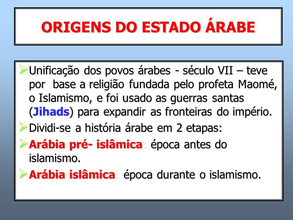  Unificação dos povos árabes - século VII – teve por base a religião fundada pelo profeta Maomé, o Islamismo, e foi usado as guerras santas (Jihads) para expandir as fronteiras do império.