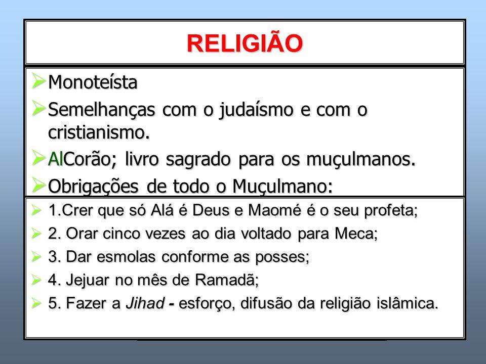 RELIGIÃO  Monoteísta  Semelhanças com o judaísmo e com o cristianismo.