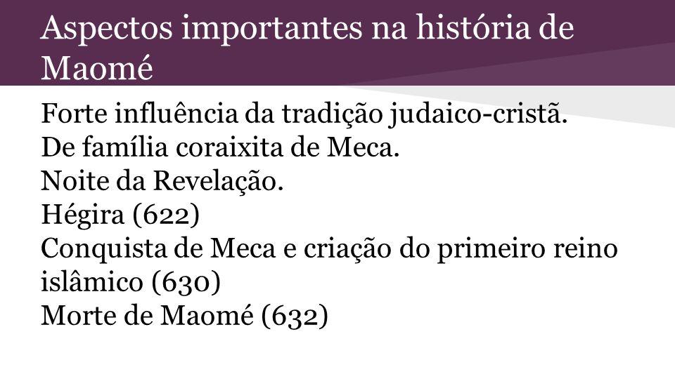 Aspectos importantes na história de Maomé Forte influência da tradição judaico-cristã. De família coraixita de Meca. Noite da Revelação. Hégira (622)