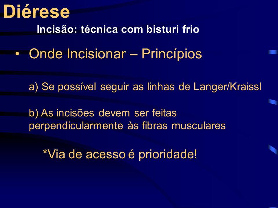 Onde Incisionar – Princípios a) Se possível seguir as linhas de Langer/Kraissl b) As incisões devem ser feitas perpendicularmente às fibras musculares *Via de acesso é prioridade.