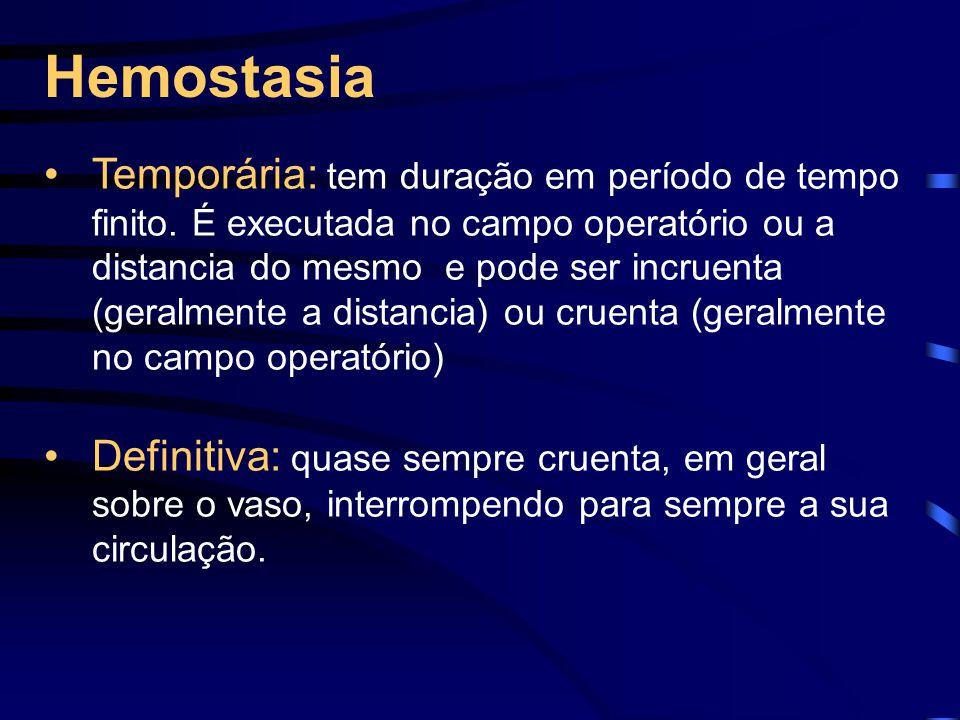 Hemostasia Temporária: tem duração em período de tempo finito.