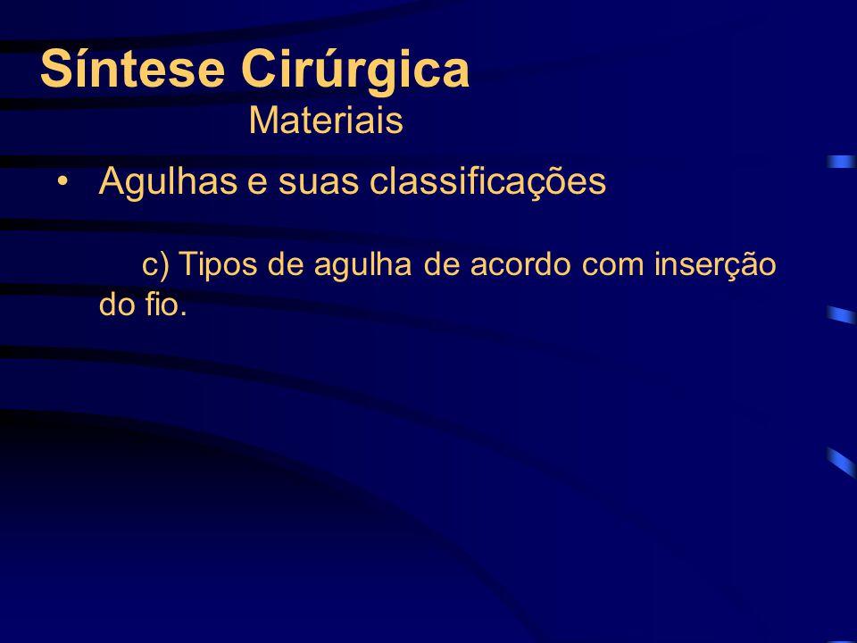 Síntese Cirúrgica Materiais Agulhas e suas classificações c) Tipos de agulha de acordo com inserção do fio.