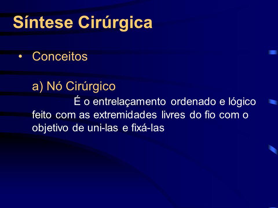 Síntese Cirúrgica Conceitos a) Nó Cirúrgico É o entrelaçamento ordenado e lógico feito com as extremidades livres do fio com o objetivo de uni-las e fixá-las